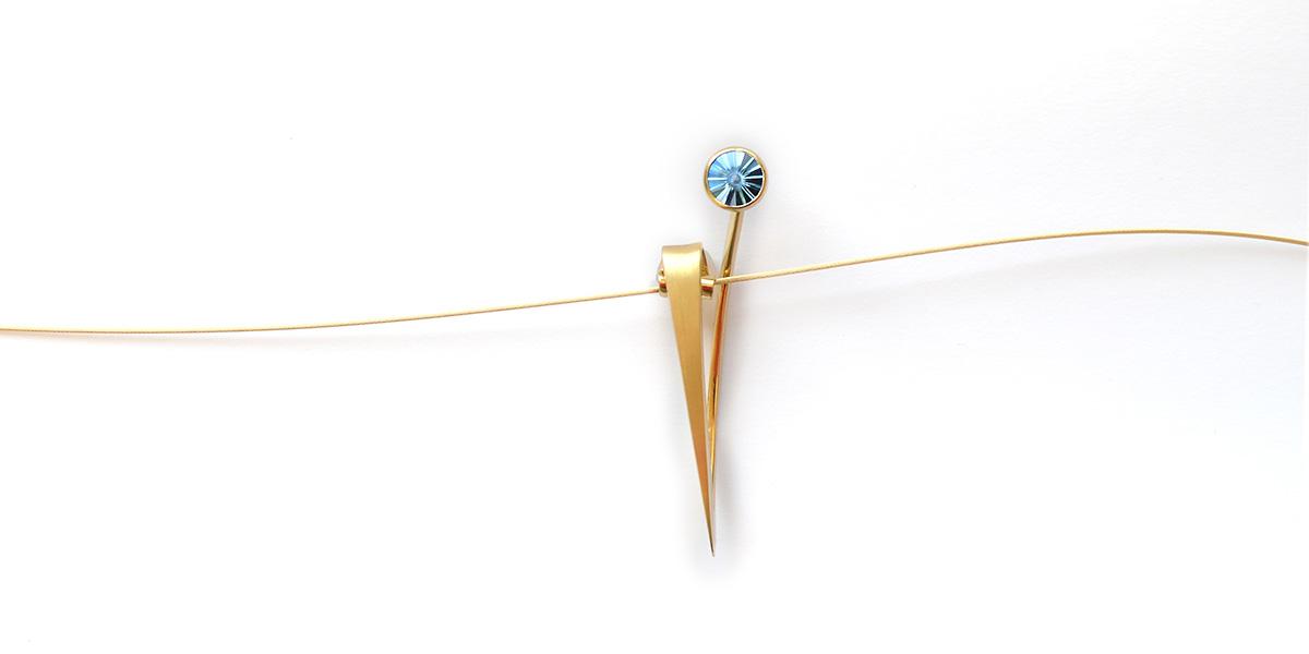 Spannanhänger Blume - 750/Gold, Aquamarin im Spirit Sun Schliff
